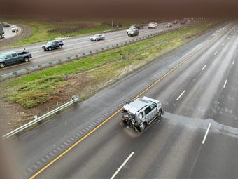 Raw video of a crash on Interstate 5 near Woodburn