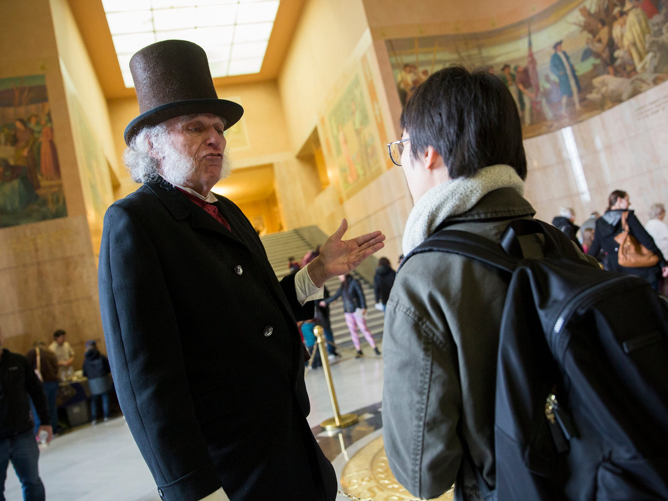 """Doug Neeley plays the role of Doctor John McLoughlin, known as the """"Father of Oregon"""" at Oregon's 160th Birthday Celebration at the Oregon State Capitol in Salem on Saturday, Feb. 16, 2019."""