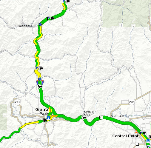 Interstate 5 near Grants Pass open, delays expected due to continued snowfall