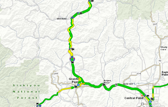 The north andsouthbound lanes of Interstate 5 north of Grants Pass between mileposts 66 and 81are open after a closure Friday, Feb. 15.