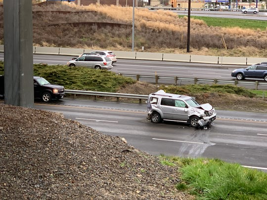 One of the vehicles involved in a crash on Friday, Feb. 15, 2019, in the southbound lanes of Interstate 5 near Woodburn.