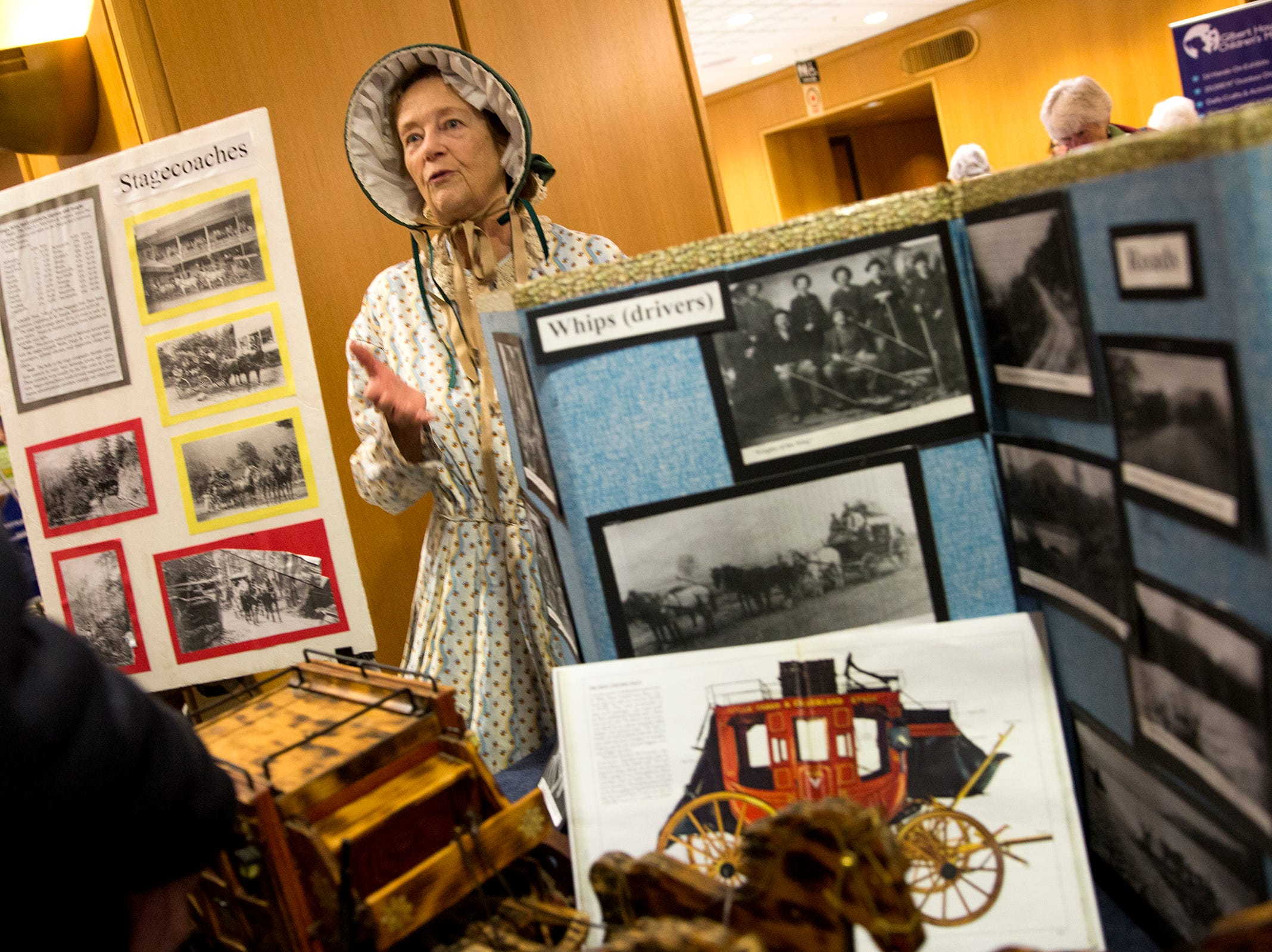 Nancye Ballard talks about the history of stagecoaches during Oregon's 160th Birthday Celebration at the Oregon State Capitol in Salem on Saturday, Feb. 16, 2019.