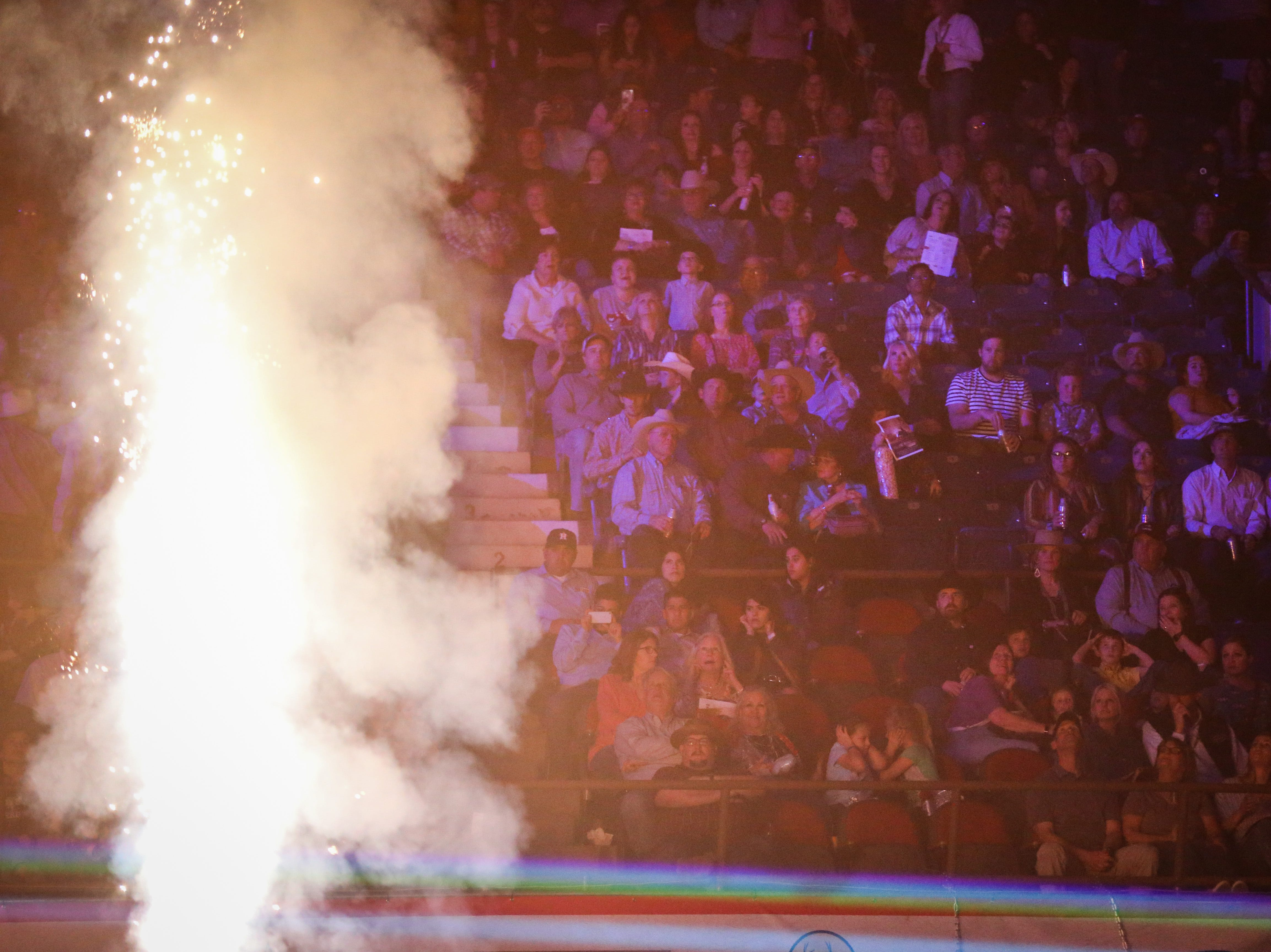 It's a full house during the pyrotechnics show for the finals of the San Angelo Stock Show & Rodeo Friday, Feb. 15, 2019, at Foster Communications Coliseum.