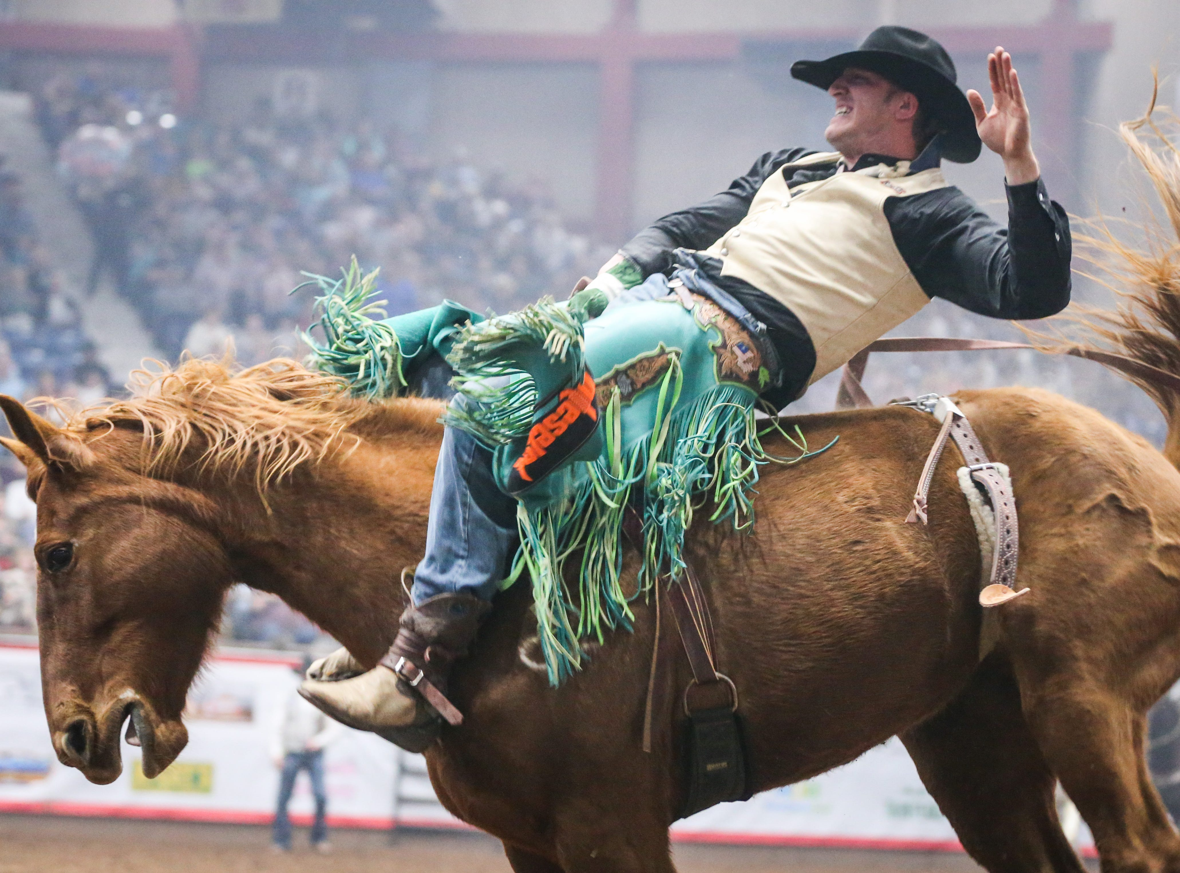 Wyatt Ortega rides bareback on Betty Boop during finals of the San Angelo Stock Show & Rodeo Friday, Feb. 15, 2019, at Foster Communications Coliseum.