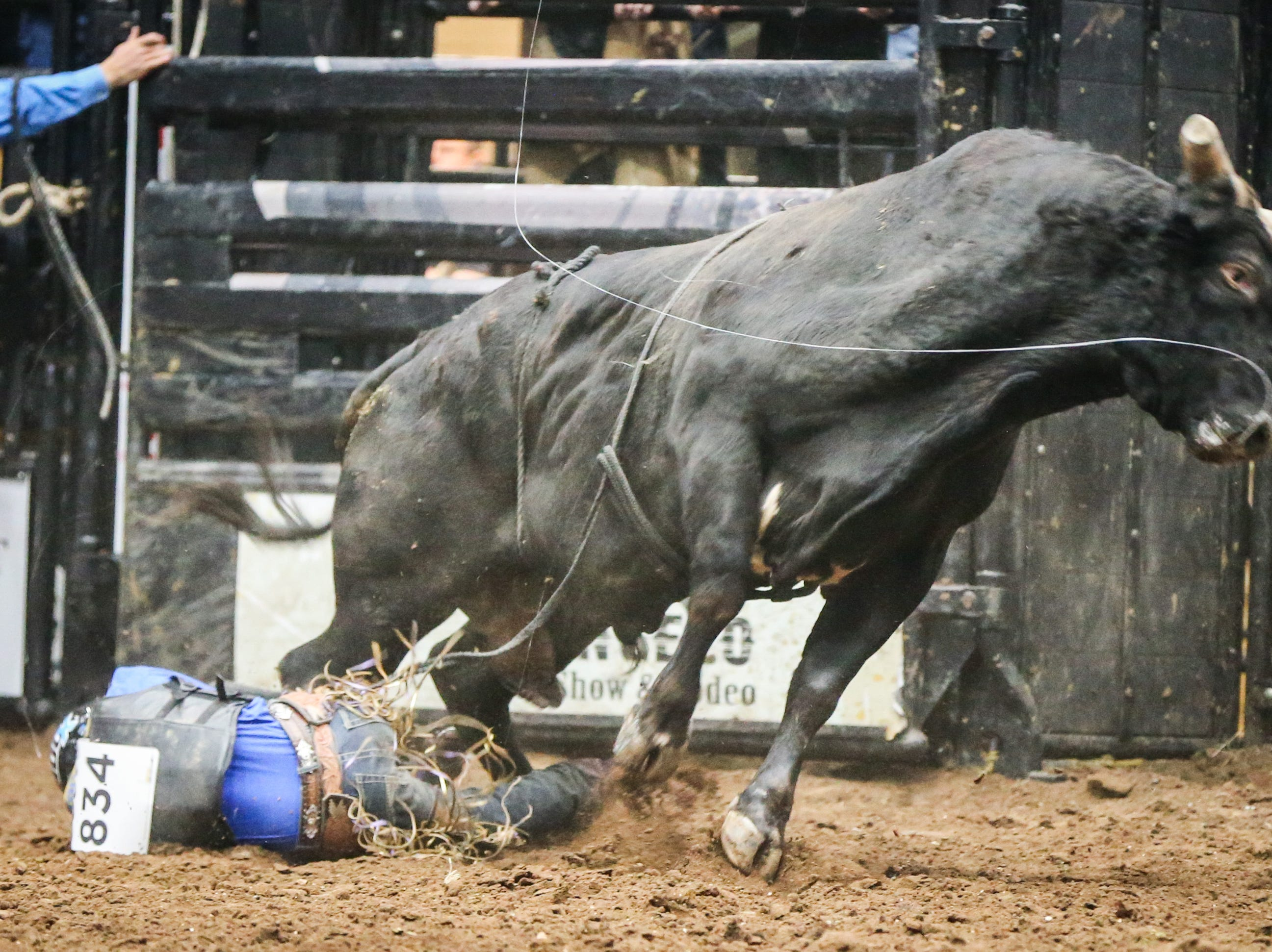 Stetson Wright is thrown off a bull during finals of the San Angelo Stock Show & Rodeo Friday, Feb. 15, 2019, at Foster Communications Coliseum.
