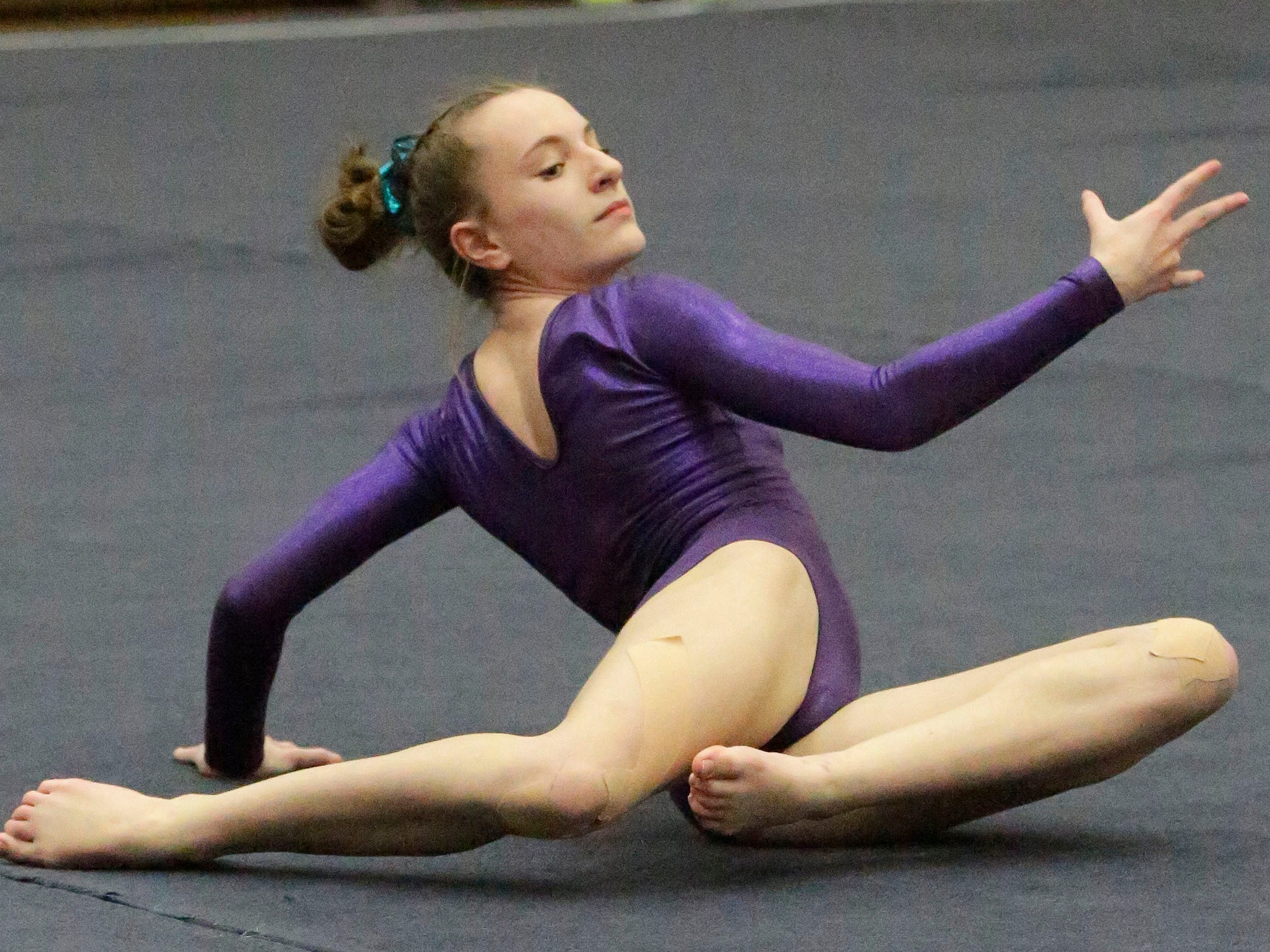 Oshkosh's Kaitlyn Golden works her floor exercise at the WIAA Eastern Valley Conference Gymnastics Meet at Sheboygan South, Friday, February 15, 2019, in Sheboygan, Wis.
