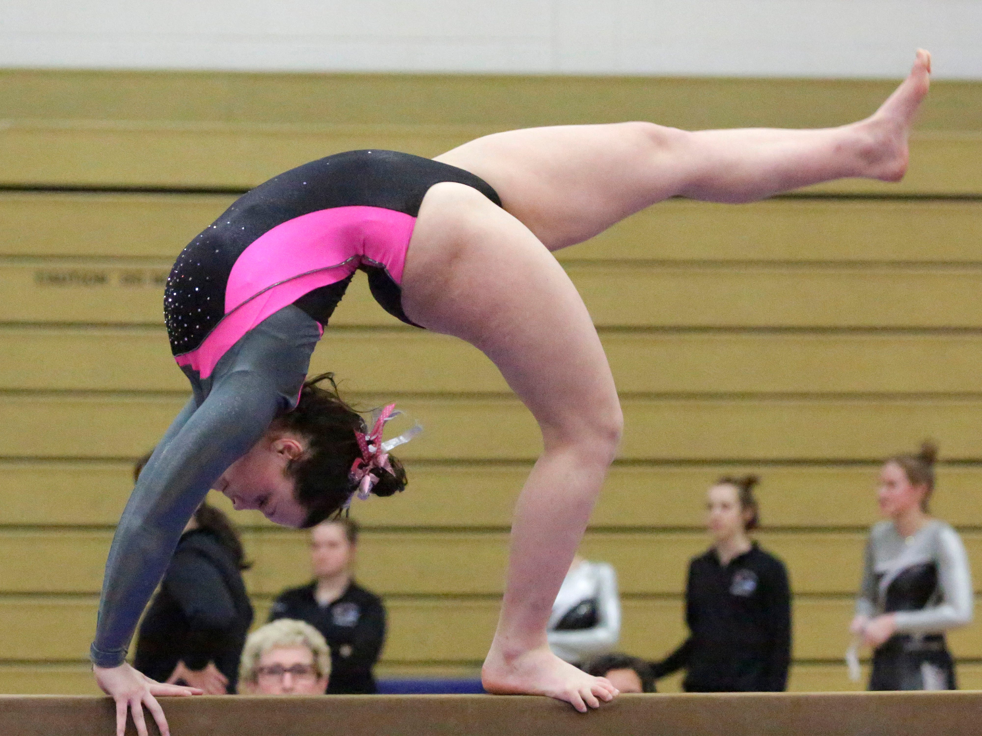 Sheboygan North/South's Haley Andersen works the beam during the WIAA Eastern Valley Conference Gymnastics Meet at Sheboygan South, Friday, February 15, 2019, in Sheboygan, Wis.