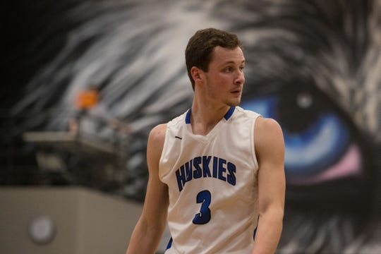 Bridgewater Emery's Sawyer Schultz (3) reacts during a game against Parker, Friday, Feb. 15, 2019 in Emery, S.D.