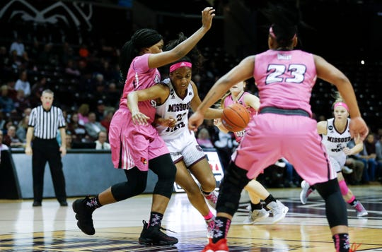 Missouri State's Jasmine Franklin drives to the basket around Illinois State defenders as the Bears take on the Redbirds at JQH Arena on Friday, Feb. 15, 2019.