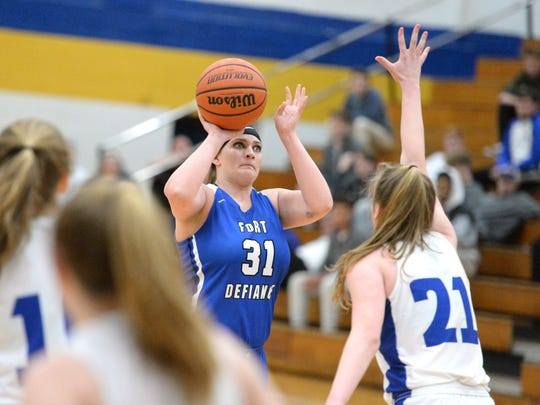 Fort Defiance's Cailin Wright looks to shoot Friday during the Region 3C quarterfinals.