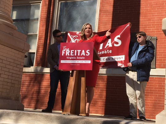 Tina Freitas announced her 24th Senate District campaign for the Republican party nomination Tuesday, Feb. 16 at the Augusta County Courthouse.