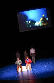 "Cast members perform a scene from ""The Curious Incident of the Dog in the Night-Time"" Thursday, Feb. 14, at St. Cloud State University."