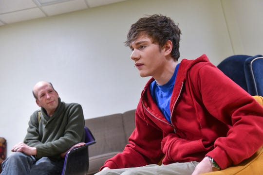 "Jordan Flaherty talks about his role as Christopher Boone with director Jeffrey Bleam Thursday, Feb. 14, before a performance of ""The Curious Incident of the Dog in the Night-Time"" at St. Cloud State University."