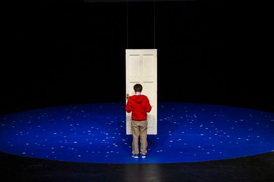 "Jordan Flaherty plays the part of Christopher Boone Thursday, Feb. 14, during a performance of ""The Curious Incident of the Dog in the Night-Time"" at St. Cloud State University."