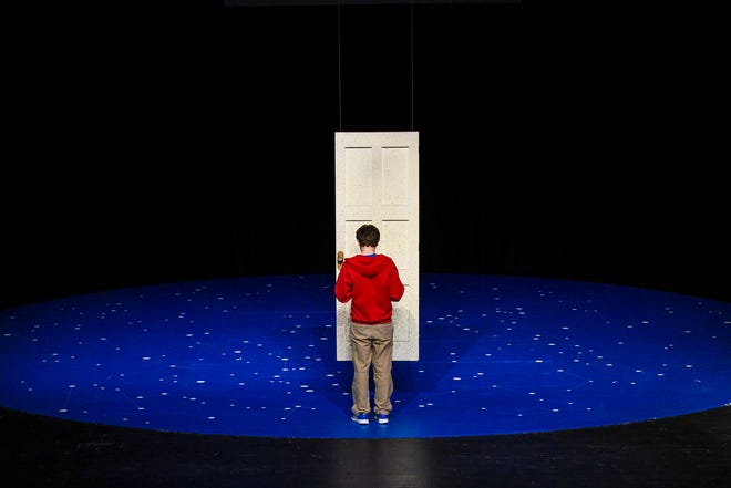 """Jordan Flaherty plays the part of Christopher Boone Thursday, Feb. 14, during a performance of """"The Curious Incident of the Dog in the Night-Time"""" at St. Cloud State University."""