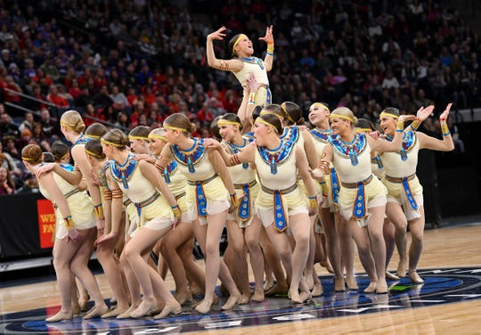 Sartell dancers perform Saturday, Feb. 16, during the Minnesota Dance Team High Kick qualifying round at the Target Center in Minneapolis. Sartell qualified for the finals in high kick Saturday.