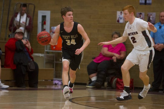 Pine View boys basketball competes against Desert Hills High School Friday, Feb. 15, 2019.