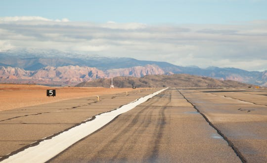 Ripples can be seen in the runway asphalt in this photo taken at the St. George Regional Airport on Feb. 15.