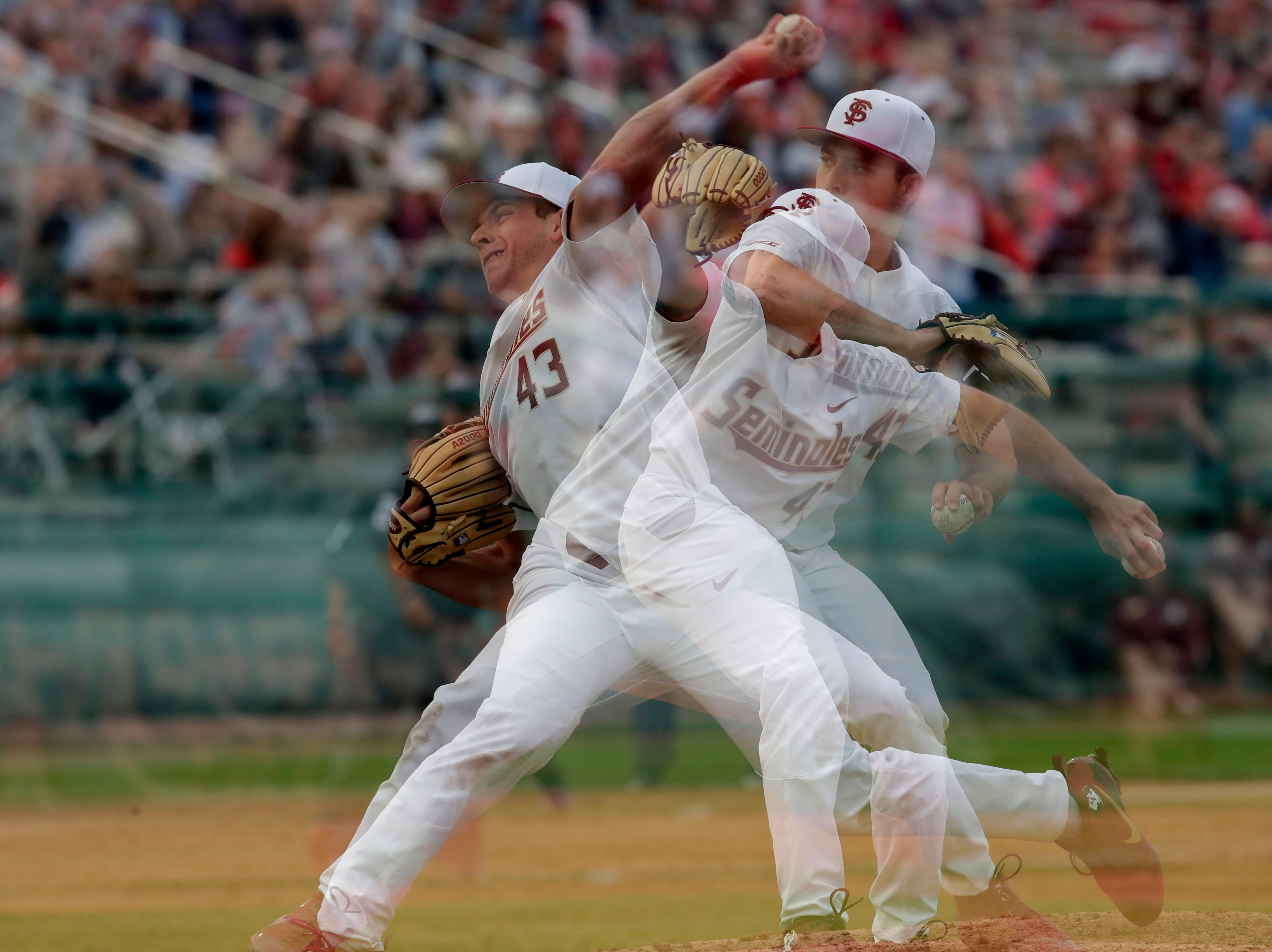 A multiple exposure of Florida State Seminoles left handed pitcher/Outfielder Drew Parrish (43) pitching as the Florida State Seminoles host the Maine Black Bears in the 2019 season opener game, Friday Feb. 15, 2019.