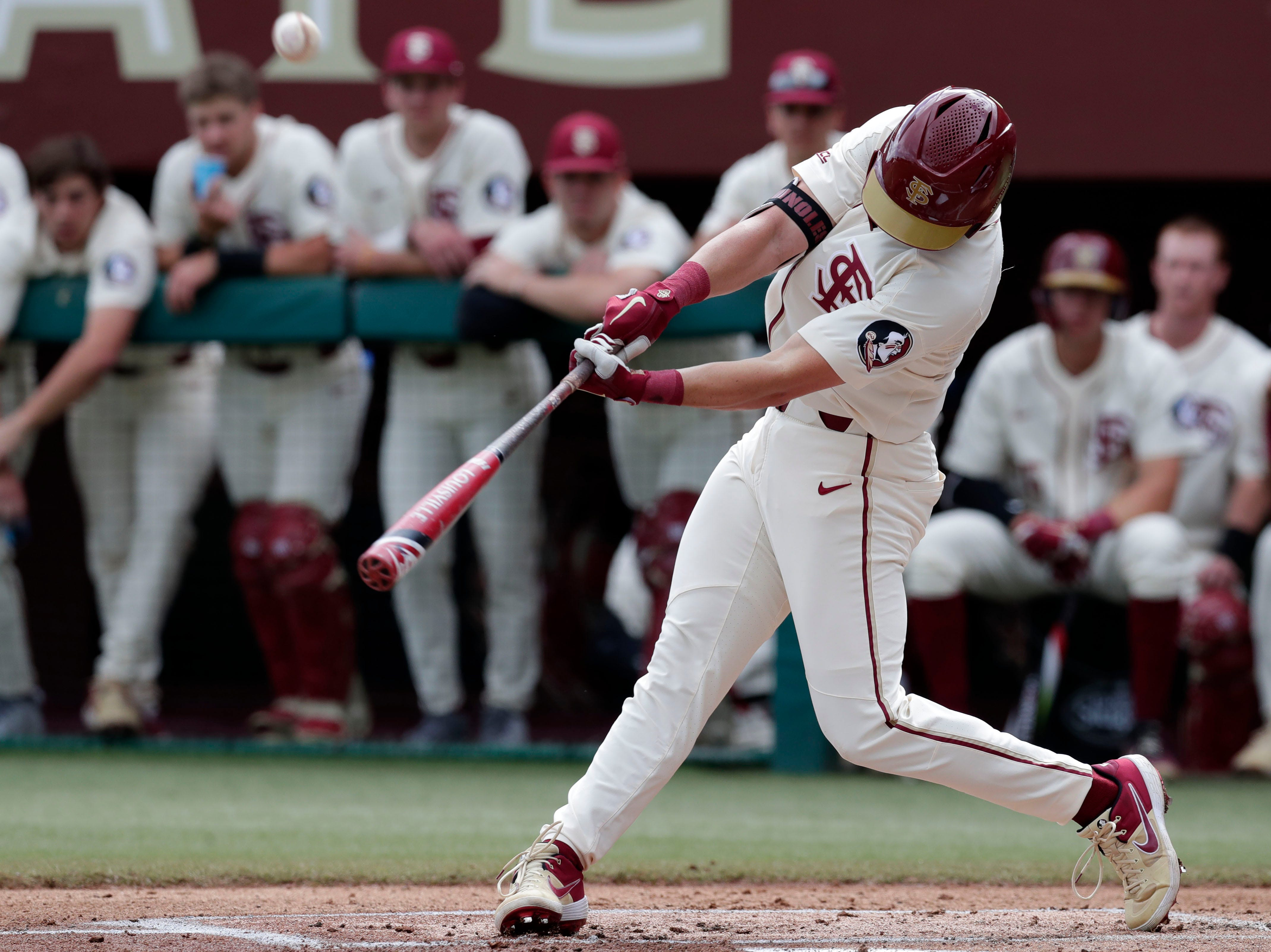 Florida State Seminoles outfielder/left handed pitcher Reese Albert (23) swings at the pitch as the Florida State Seminoles host the Maine Black Bears for the second game of the series, Saturday Feb. 16, 2019.