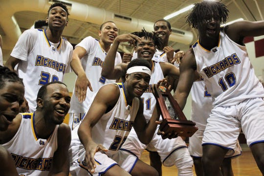 Rickards' boys basketball team beat Godby 58-47 for a District 2-6A championship on Feb. 15, 2019.