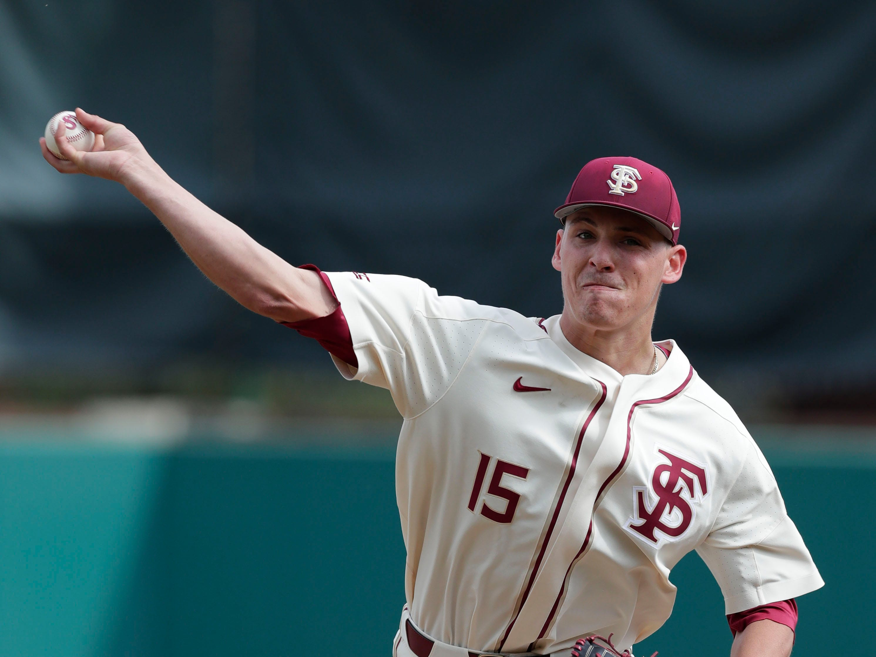 Florida State Seminoles right handed pitcher CJ Van Eyk (15) warms up his pitching as the Florida State Seminoles host the Maine Black Bears for the second game of the series, Saturday Feb. 16, 2019.