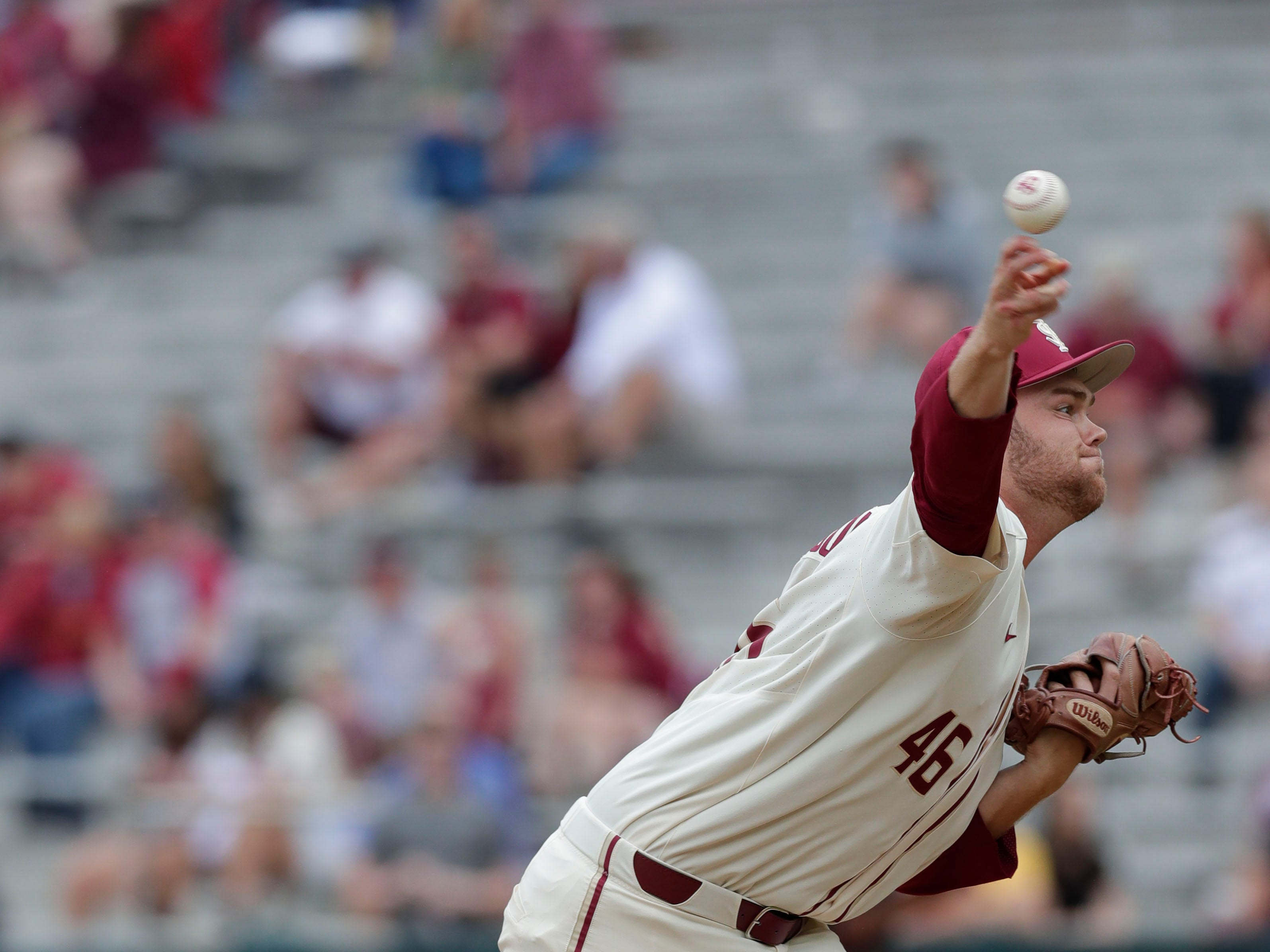 Florida State Seminoles right handed pitcher Gage Hutchinson (46) pitches as the Florida State Seminoles host the Maine Black Bears for the second game of the series, Saturday Feb. 16, 2019.