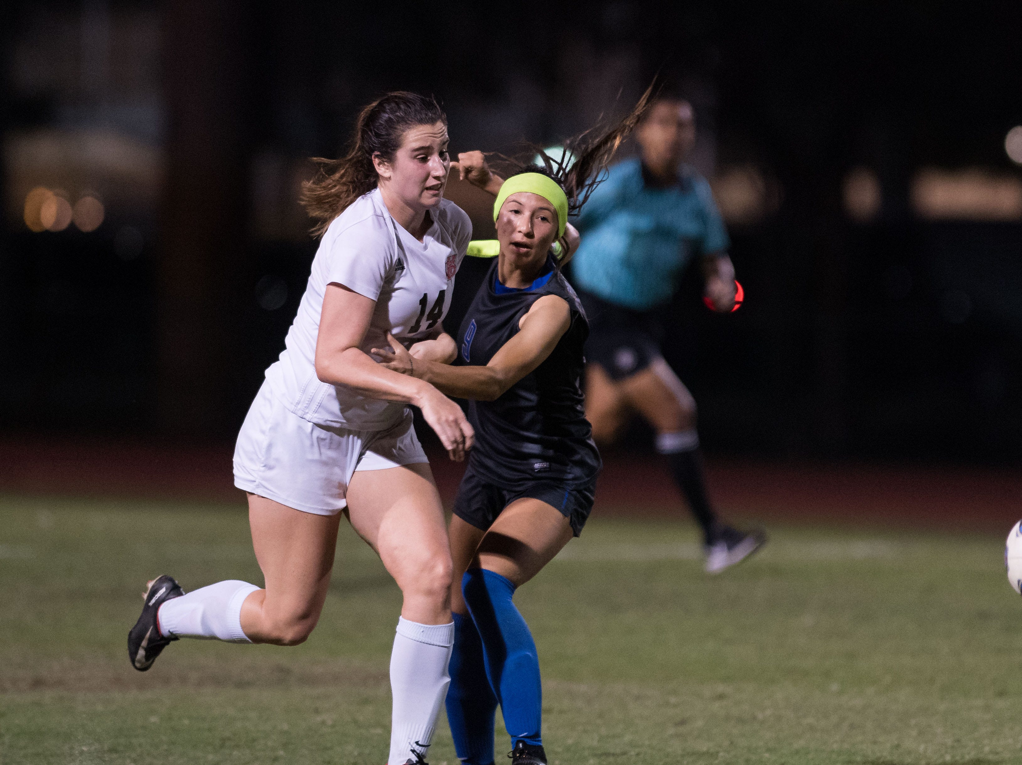 Vero Beach plays Cypress Bay during the high school girls soccer Class 5A state semifinal game Friday, Feb. 15, 2019, at Cypress Bay High School in Weston.
