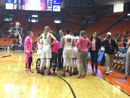 The UTEP women's basketball team gets its final instructions prior to Saturday's game against Southern Miss