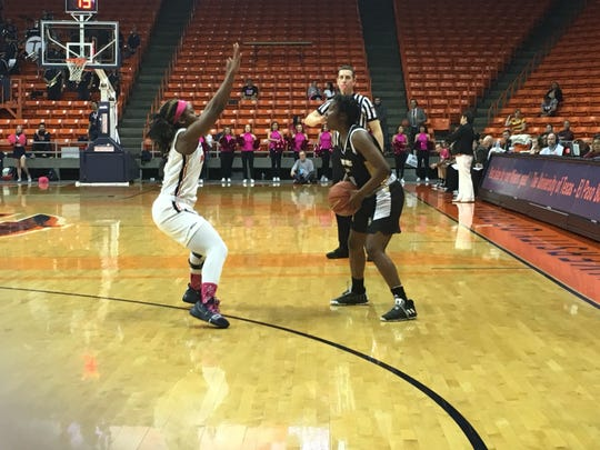 UTEP's Jordan Alexander defends against Southern Miss' Shonte Hailes Saturday at the Don Haskins Center