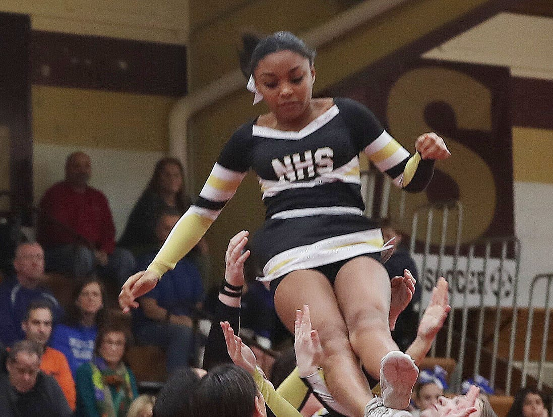 Nanuet High School competes during the Section 1 cheerleading championships at Arlington High School in Freedom Plains Feb. 16, 2019.