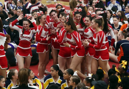 North Rockland cheerleaders react after learning they came in first place in their division during the Section 1 cheerleading championships at Arlington High School in Freedom Plains Feb. 16, 2019.