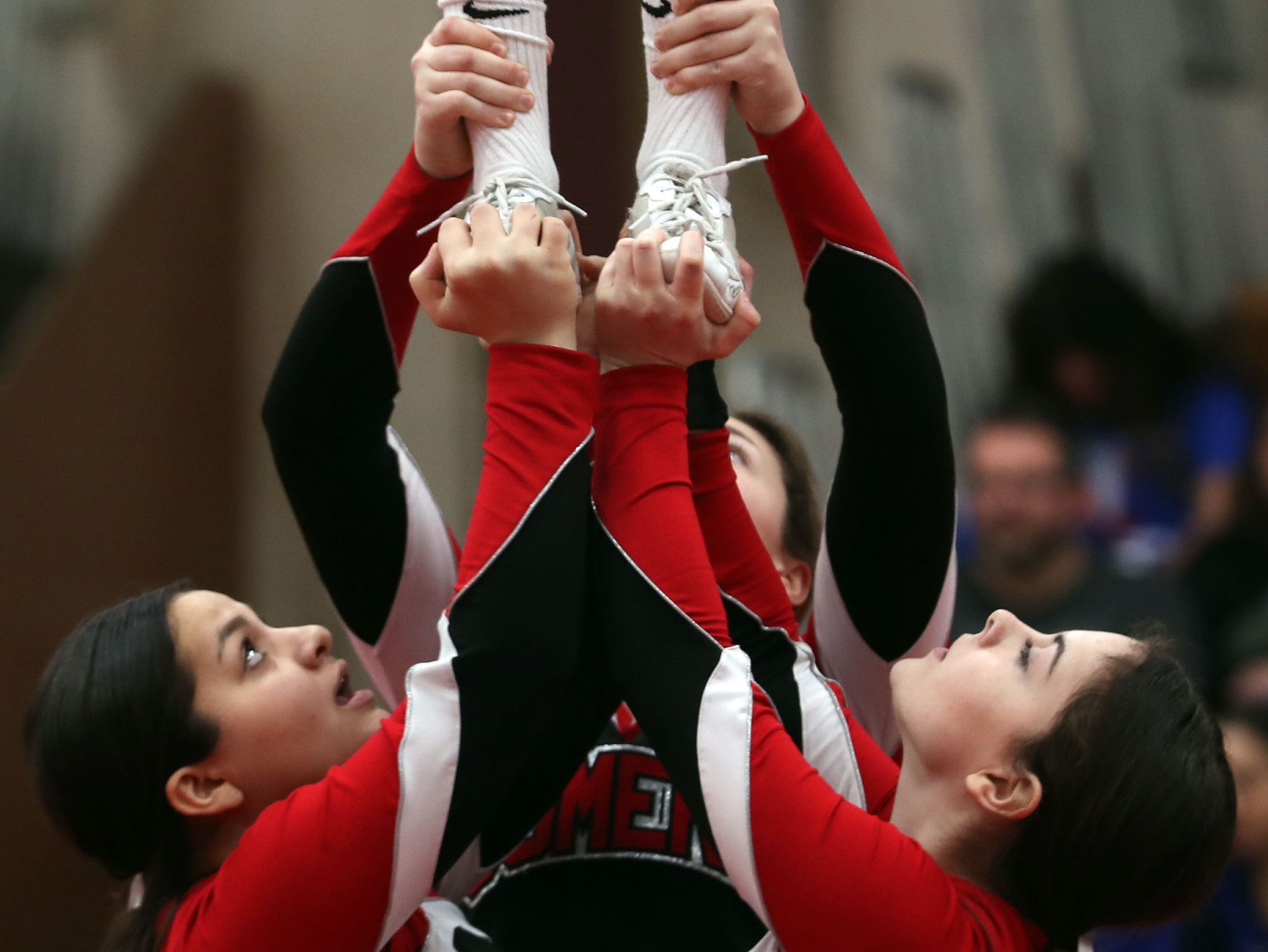 Somers High School competes during the Section 1 cheerleading championships at Arlington High School in Freedom Plains Feb. 16, 2019.
