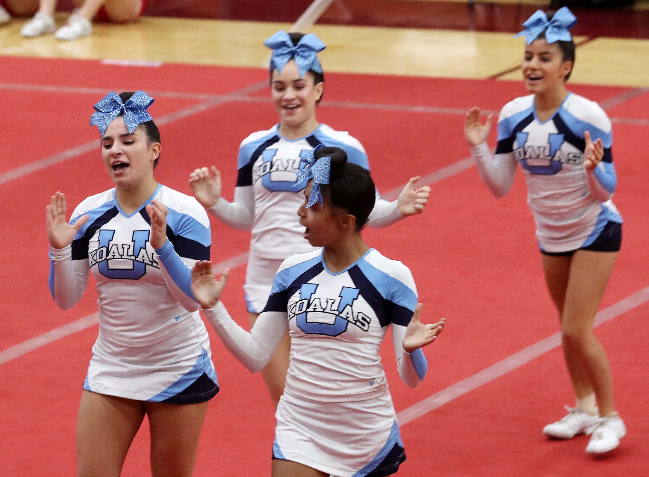 The Ursuline School competes during the Section 1 cheerleading championships at Arlington High School in Freedom Plains Feb. 16, 2019.