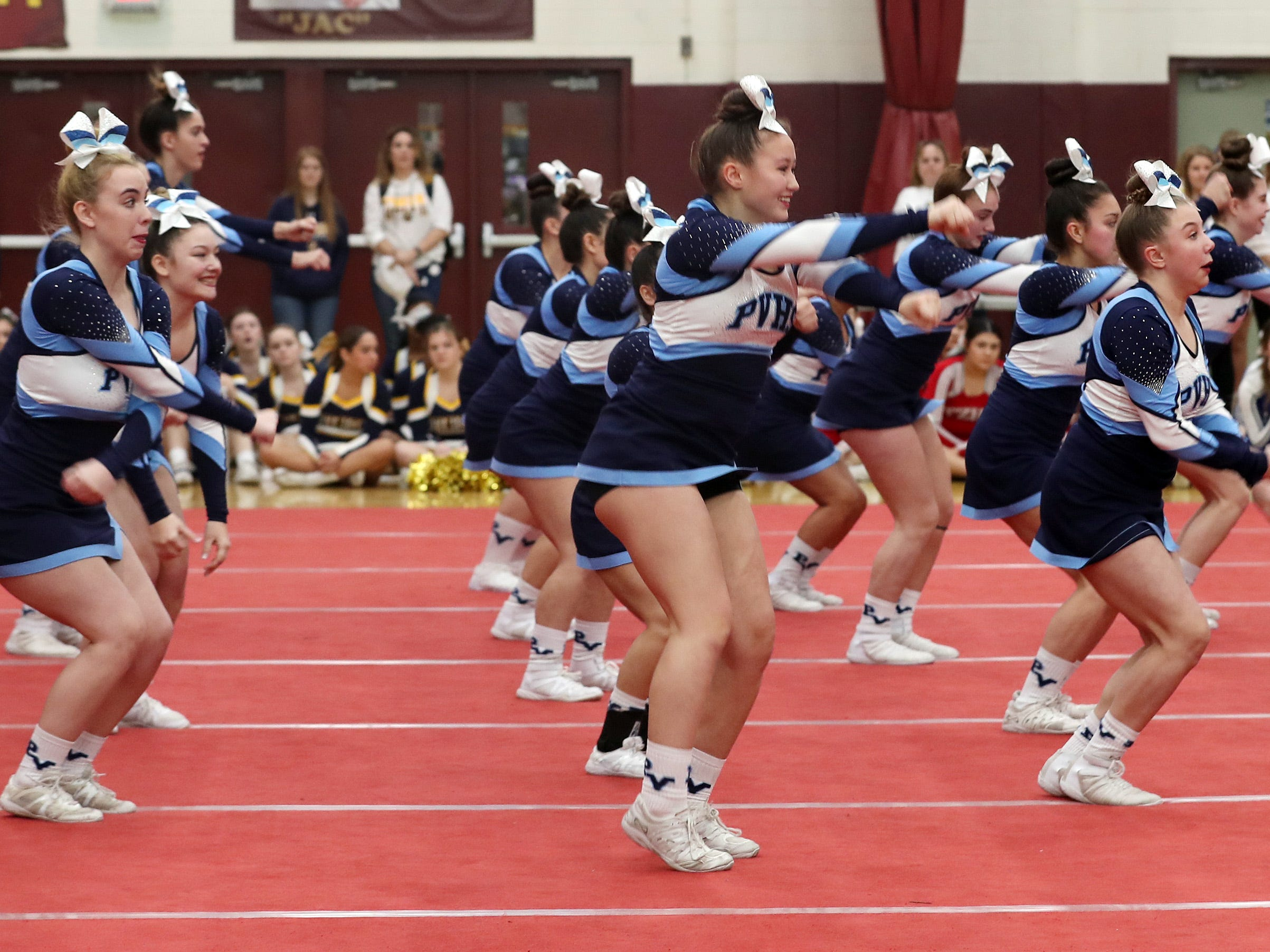 Putnam Valley High School competes during the Section 1 cheerleading championships at Arlington High School in Freedom Plains Feb. 16, 2019.