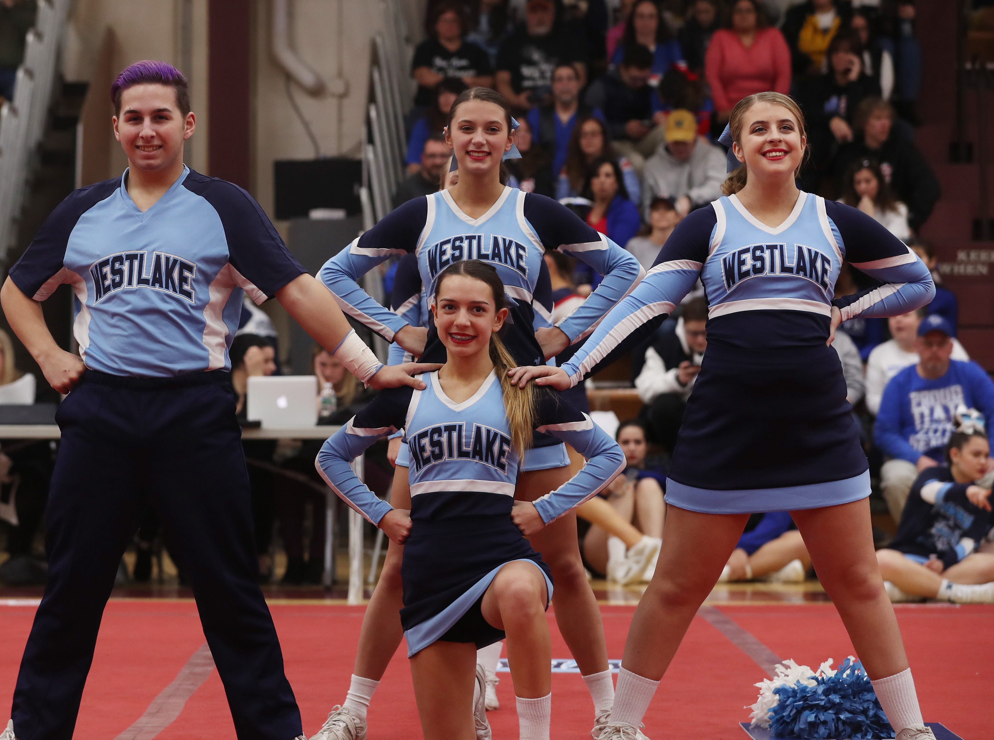 Westlake High School competes during the Section 1 cheerleading championships at Arlington High School in Freedom Plains Feb. 16, 2019.