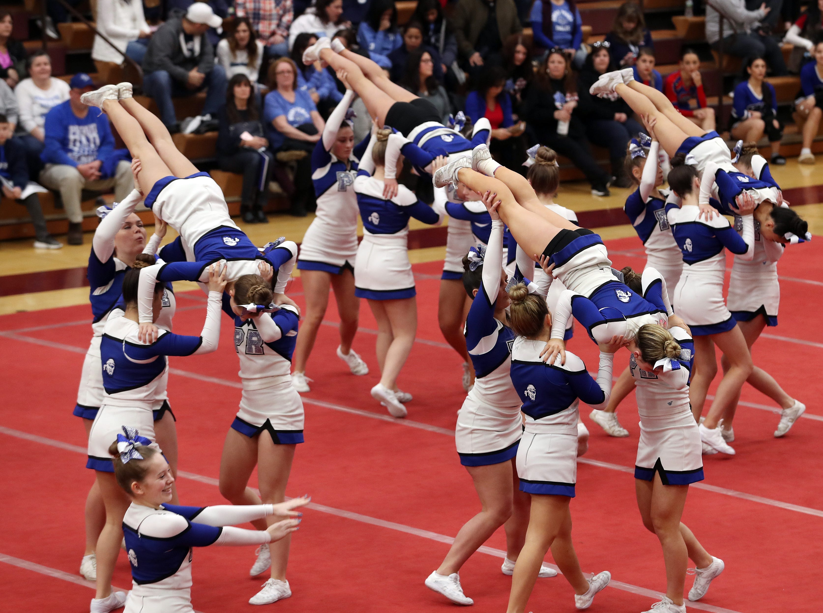 Pearl River High School competes during the Section 1 cheerleading championships at Arlington High School in Freedom Plains Feb. 16, 2019.