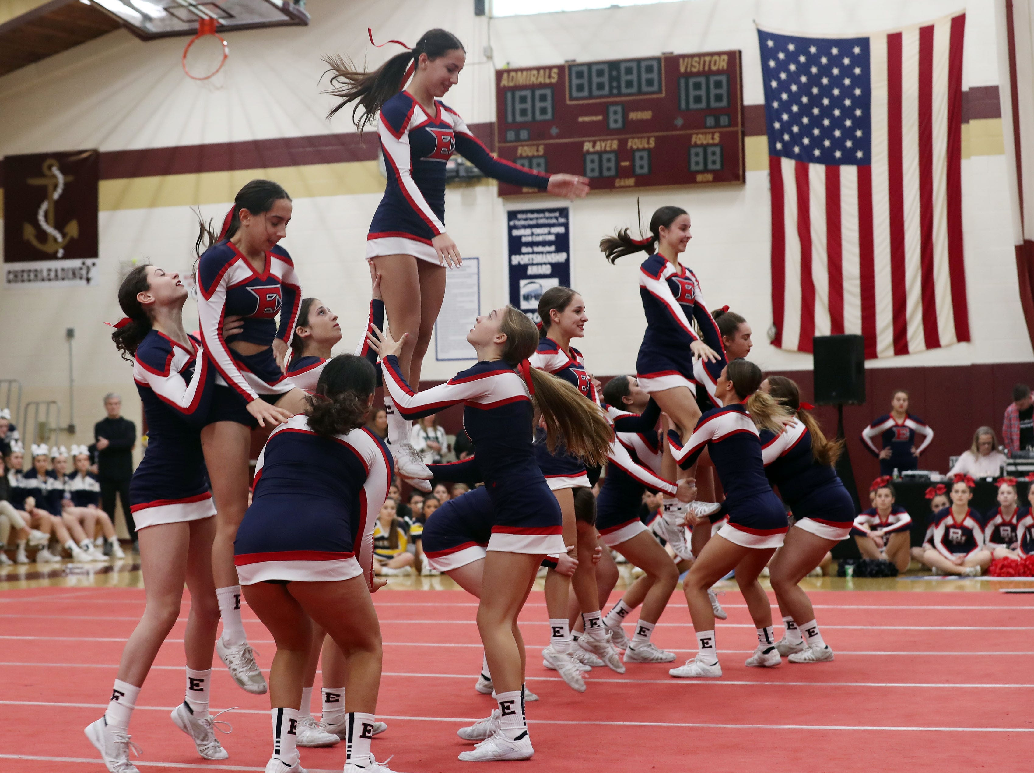 Eastchester High School competes during the Section 1 cheerleading championships at Arlington High School in Freedom Plains Feb. 16, 2019.