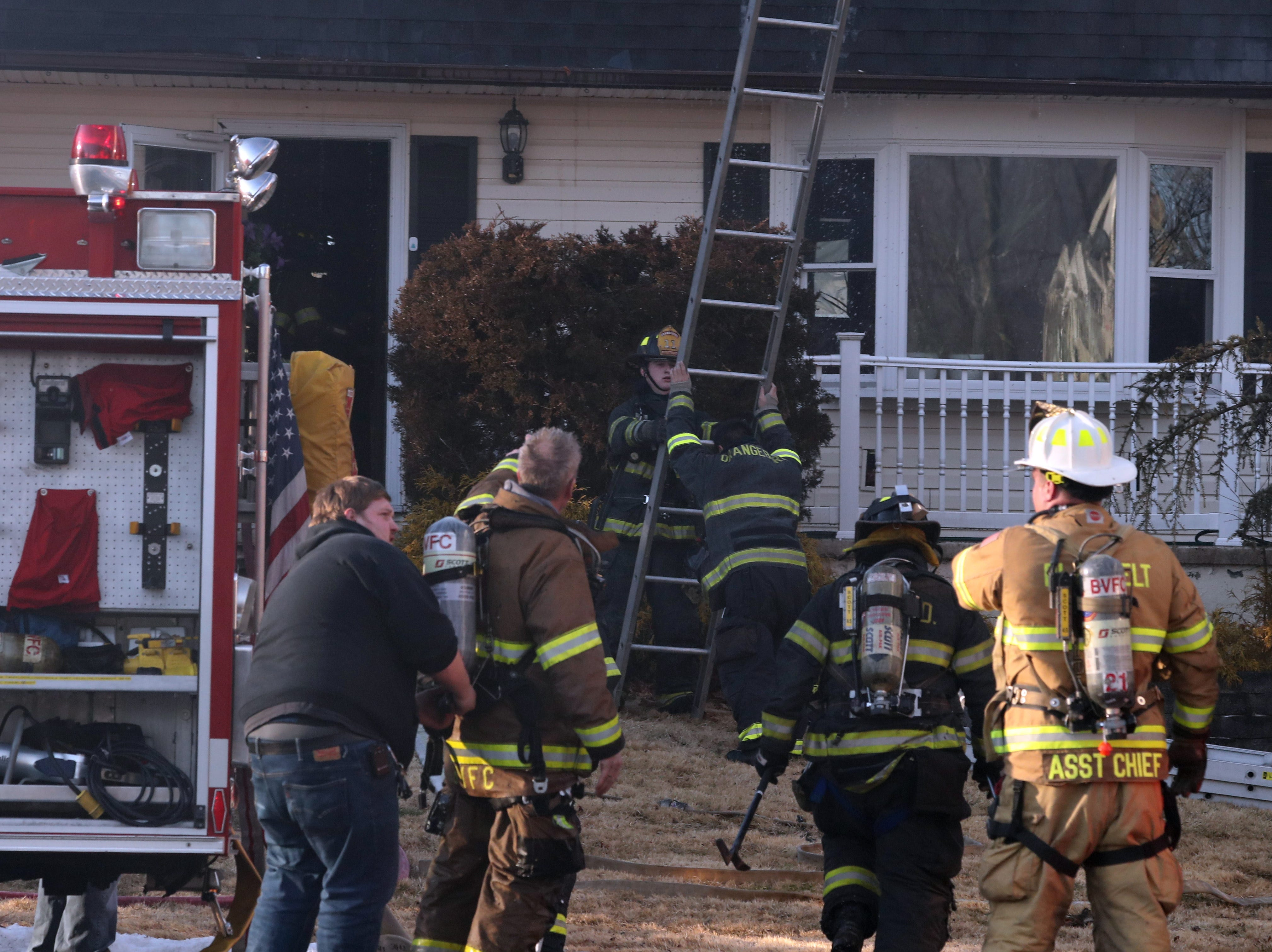 firefighters work on a house fire on Glynn Oval in Blauvelt Feb. 16, 2019. Blauvelt, Orangeburg, Tappan, Pearl River and Central Nyack fire departments responded to the fire.