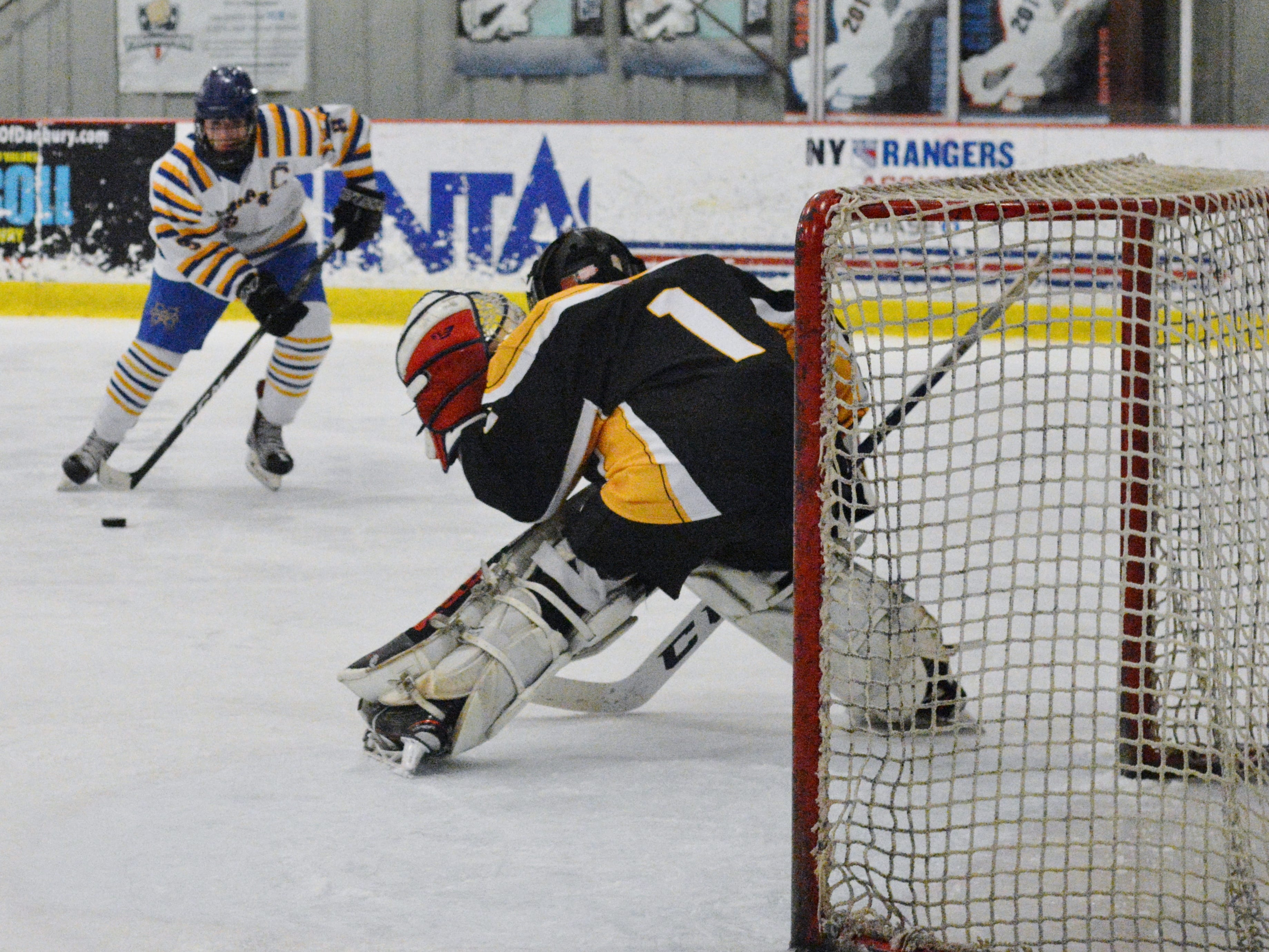 Brian O'Shea (9) scored a hat trick, helping Mahopac post a 4-2 win over Cortlandt in a Section 1 Division I opening-round game on Friday, Feb. 15, 2019 at Brewster Ice Arena