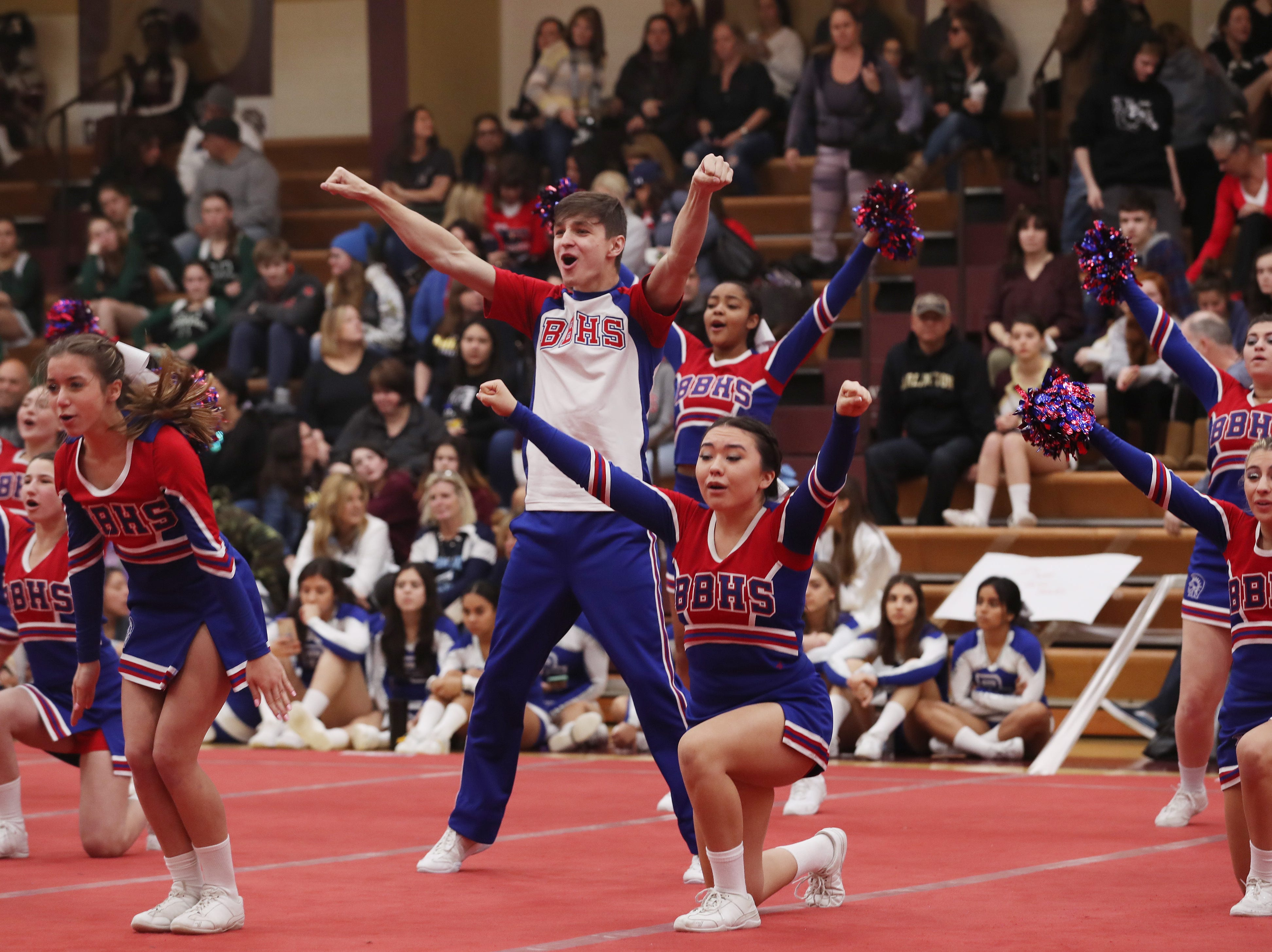 Blind Brook High School competes during the Section 1 cheerleading championships at Arlington High School in Freedom Plains Feb. 16, 2019.