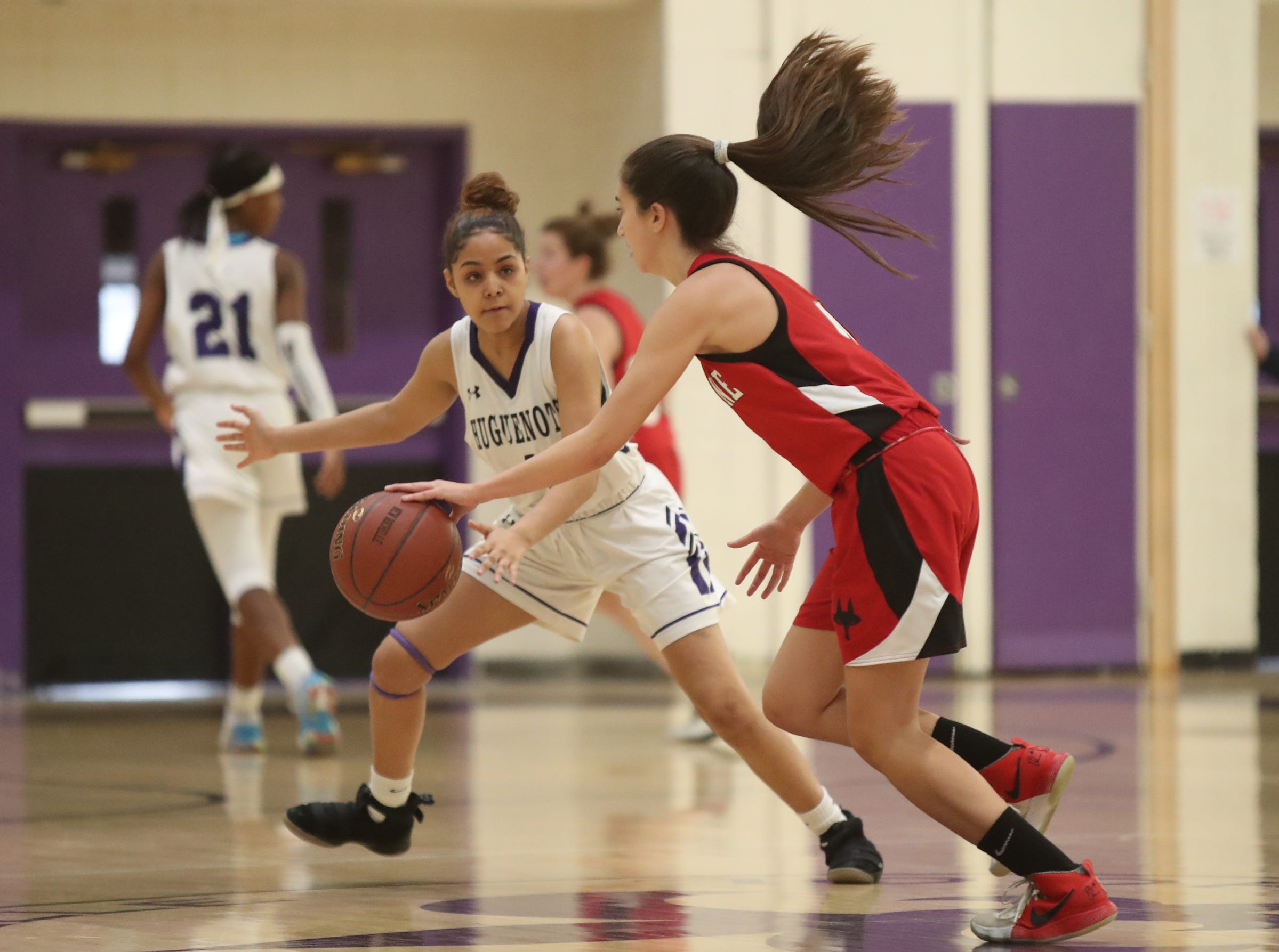 New Rochelle defeats Fox Lane 53-39 in the class AA girls basketball outbracket game at New Rochelle High School in New Rochelle on Saturday, February 16, 2019.