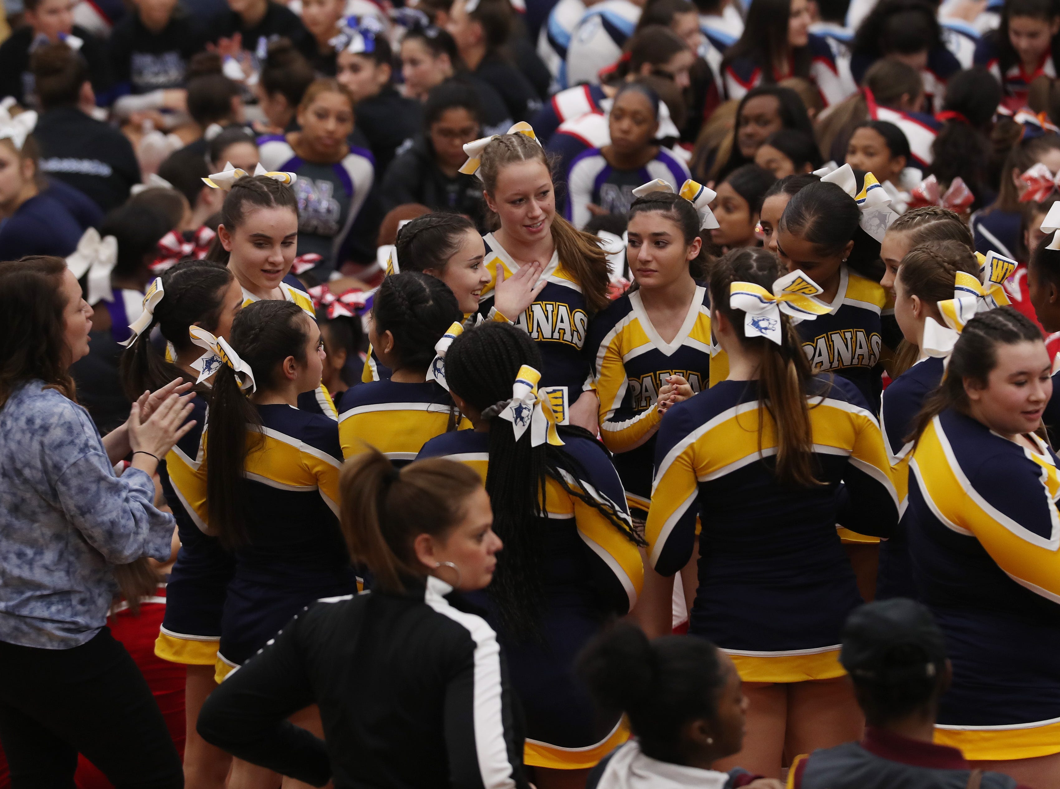 The Section 1 cheerleading championships at Arlington High School in Freedom Plains Feb. 16, 2019.
