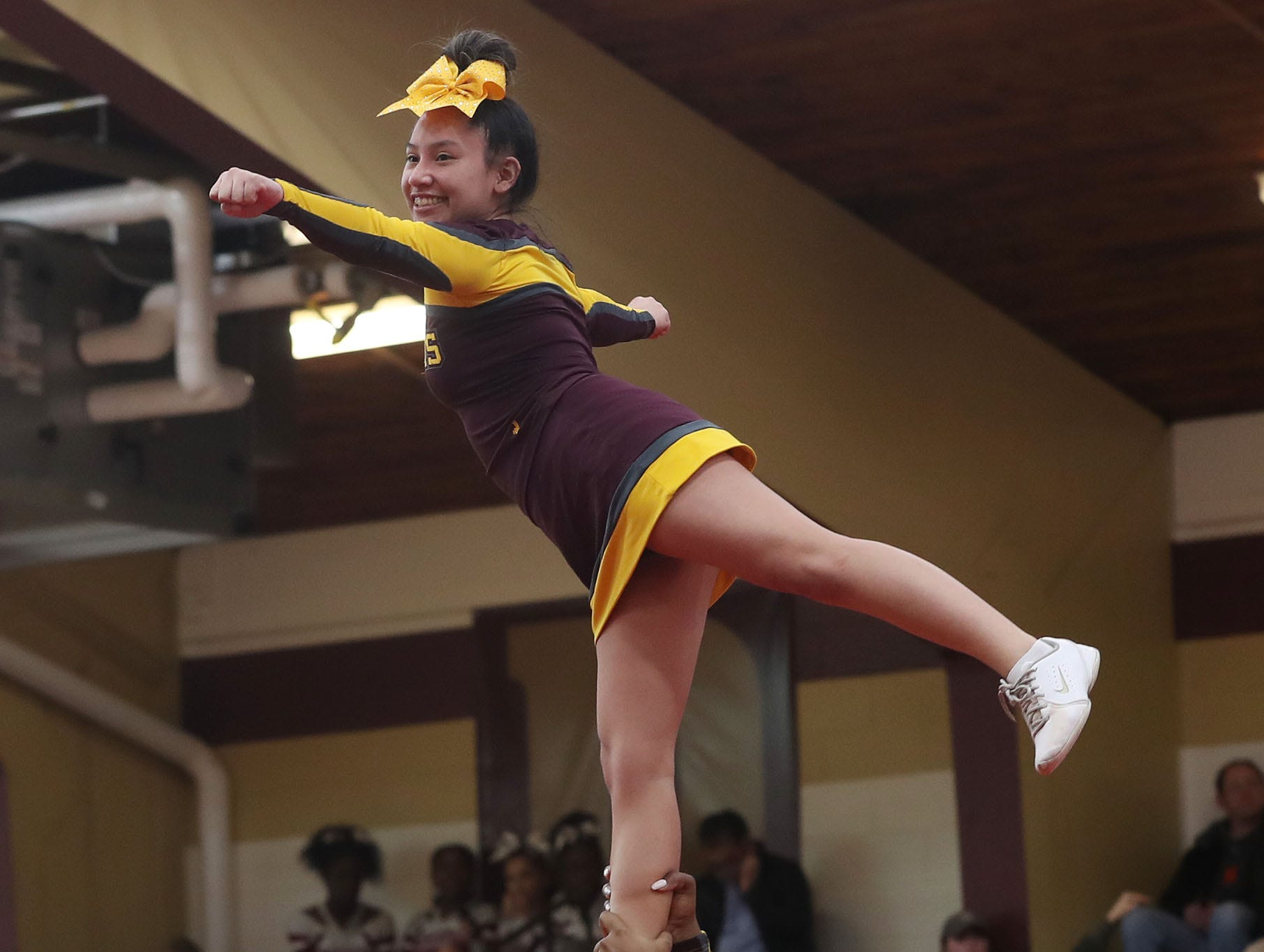 Mount Vernon High School competes during the Section 1 cheerleading championships at Arlington High School in Freedom Plains Feb. 16, 2019.