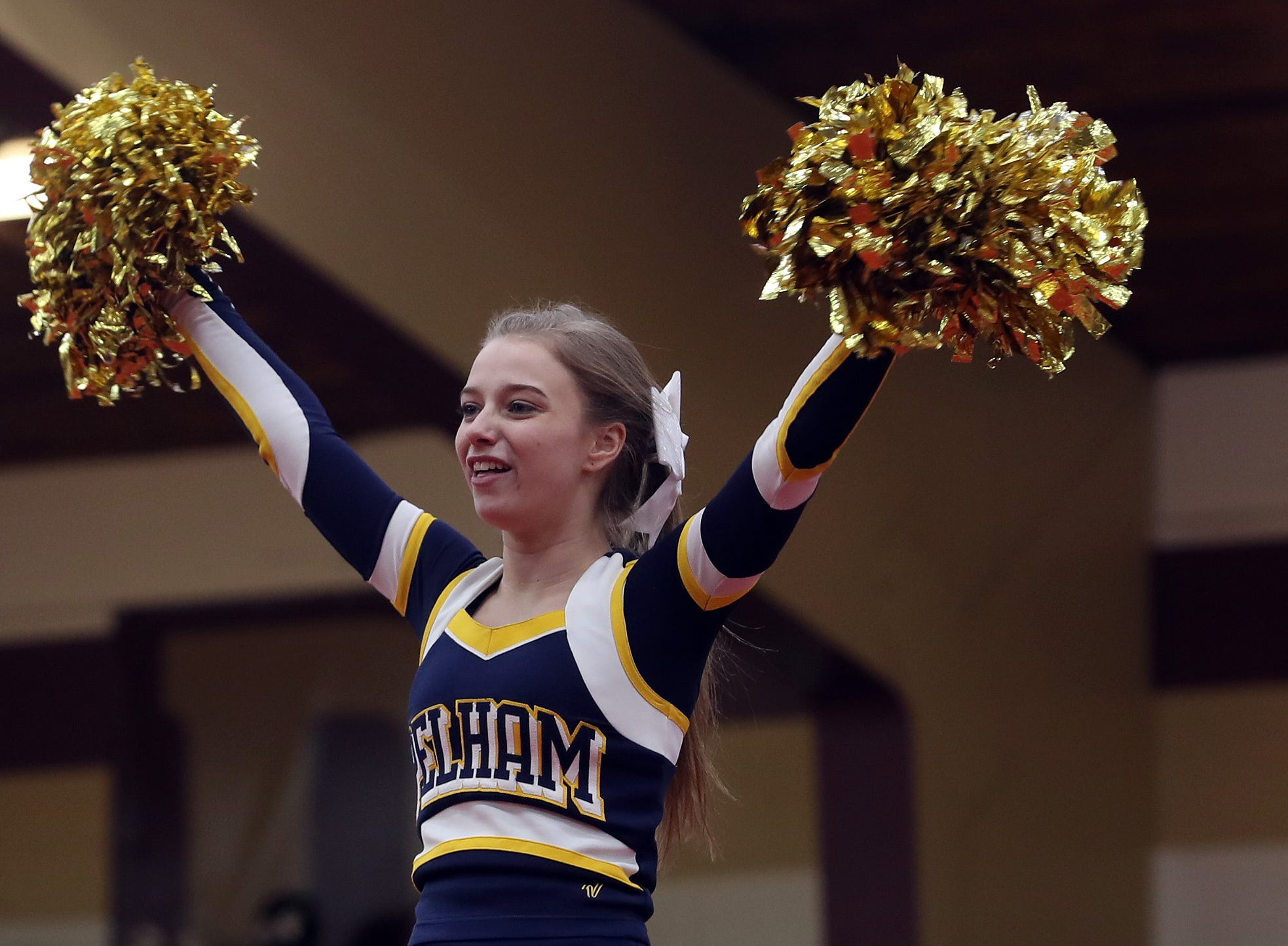 Pelham High School competes during the Section 1 cheerleading championships at Arlington High School in Freedom Plains Feb. 16, 2019.