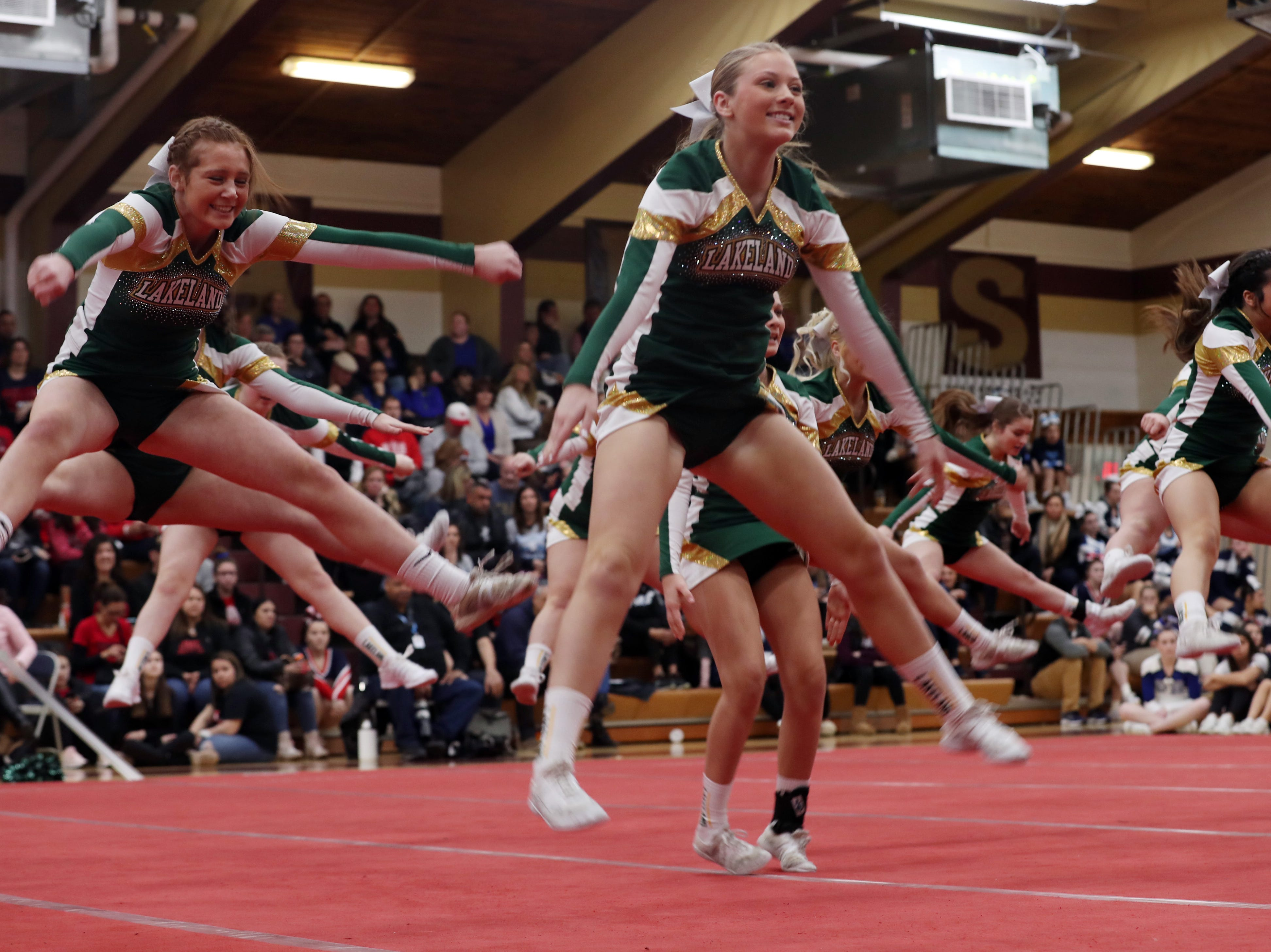Lakeland High School competes during the Section 1 cheerleading championships at Arlington High School in Freedom Plains Feb. 16, 2019.