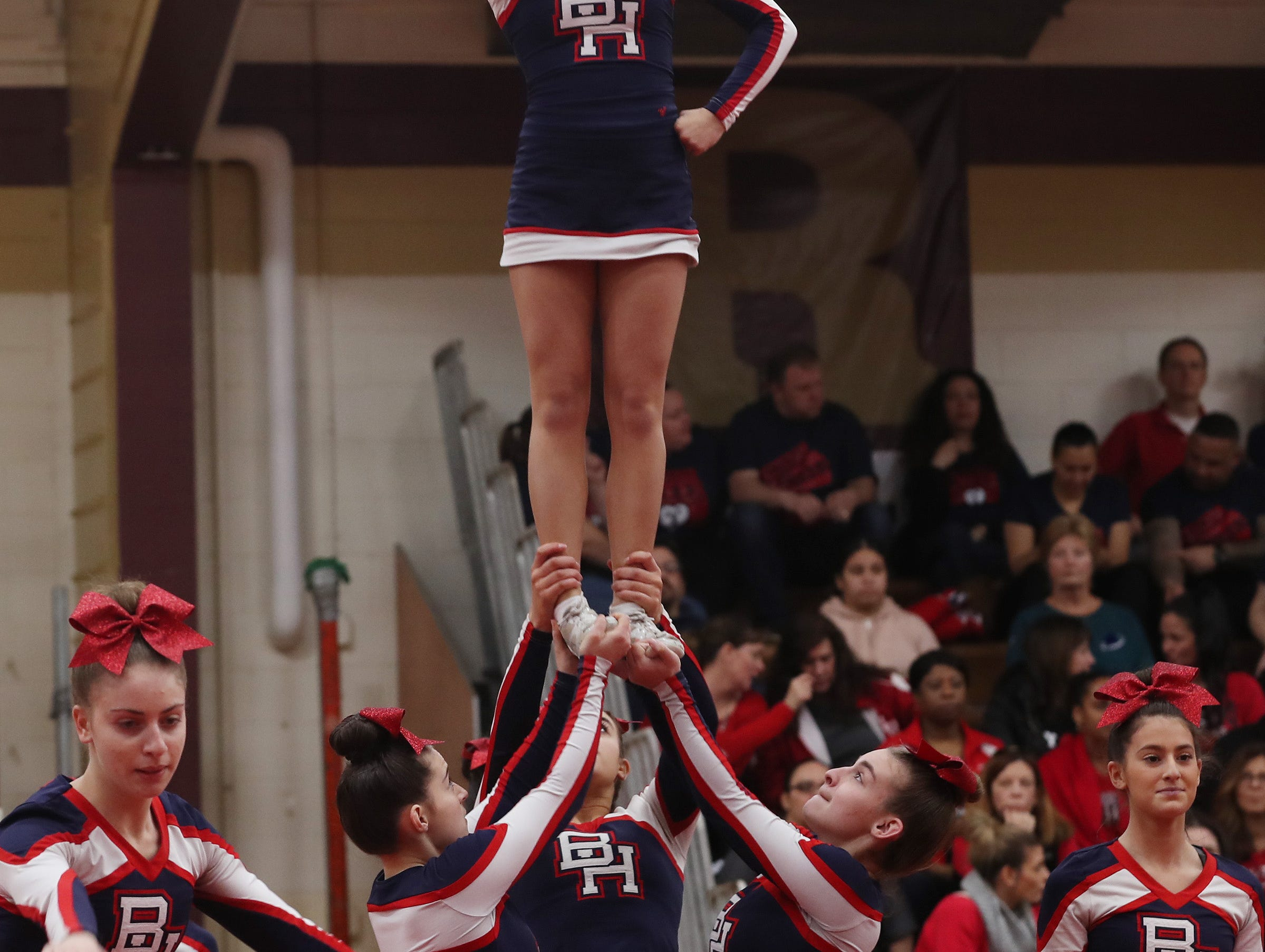 Byram Hills High School competes during the Section 1 cheerleading championships at Arlington High School in Freedom Plains Feb. 16, 2019.