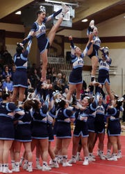 Putnam Valley High School competes during the Section 1 cheerleading championships at Arlington High School in Freedom Plains Feb. 16, 2019. Putnam Valley came in first place in their division.