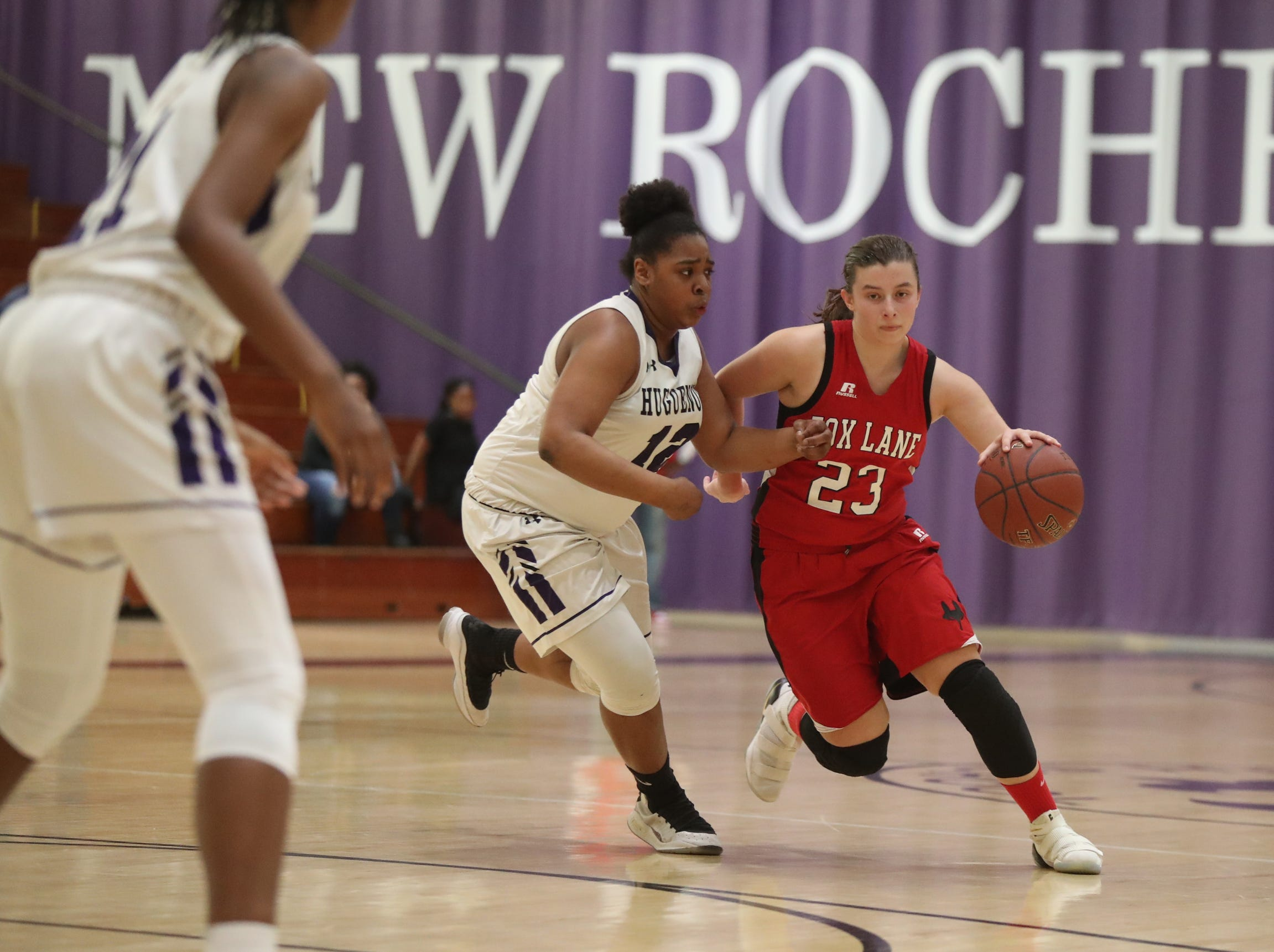 Fox Lane's Natalie Pence (23)  works around New Rochelle's Makira Bunsie (12)  in the class AA girls basketball outbracket game at New Rochelle High School in New Rochelle on Saturday, February 16, 2019.