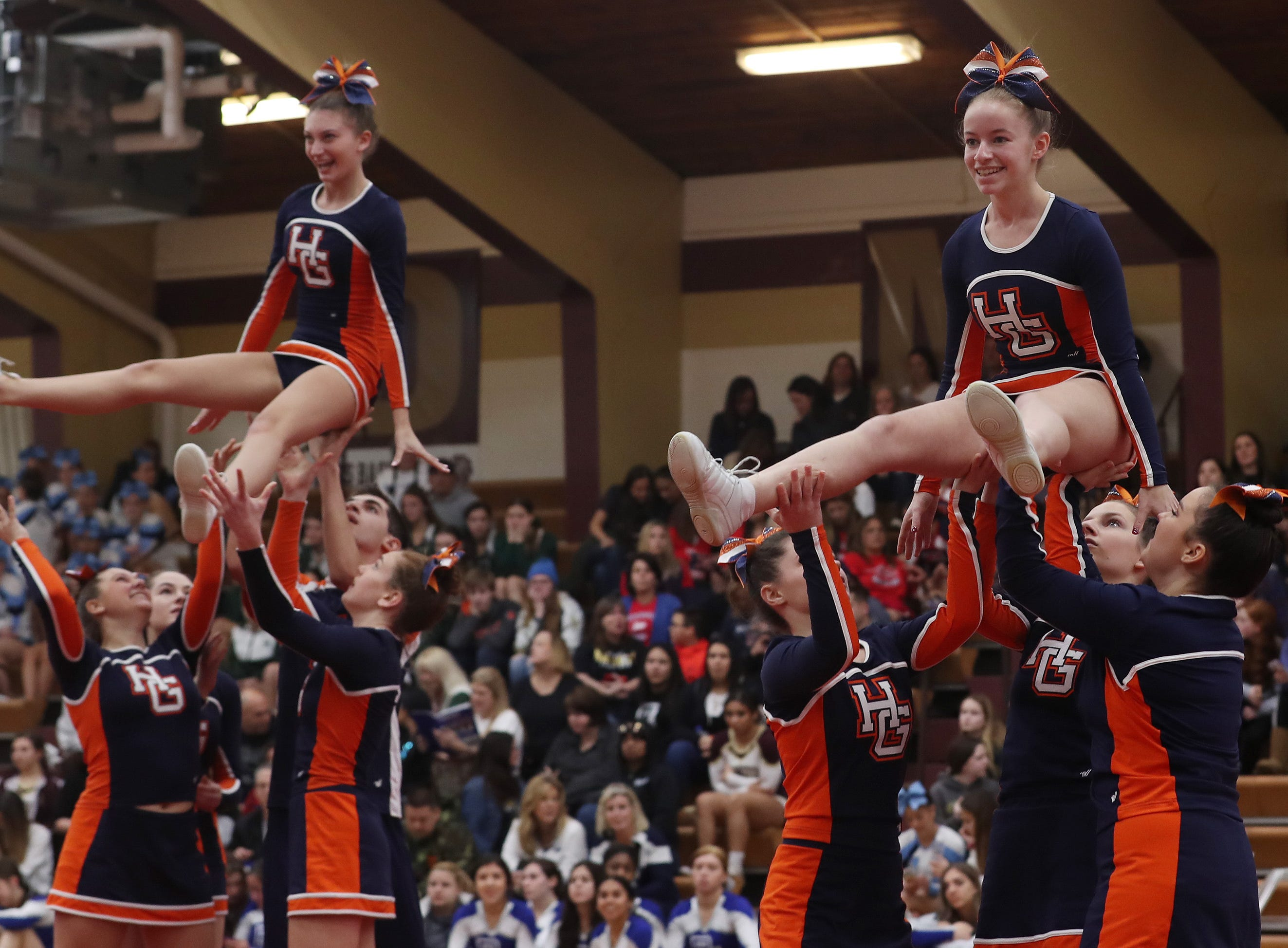 Horace Greeley High School competes during the Section 1 cheerleading championships at Arlington High School in Freedom Plains Feb. 16, 2019.